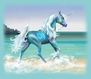 An artist's rendition of the king's unicorn. His name was sparkle; he hated his name.image source: unicorn.com