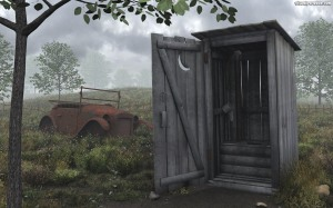 outhouse in the woods