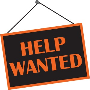 hanging help wanted sign
